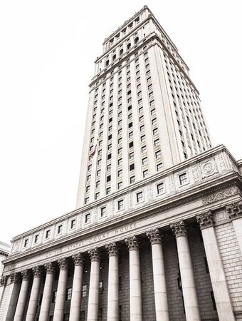 NEW YORK, USA - Apr 28, 2016: United States Court House. Courthouse facade with columns, lower Manhattan, New York