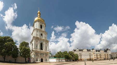 KYIV, UKRAINE - May. 11, 2019: Saint Sophia Cathedral in Kiev on a sunny day with blue sky and white clouds.  Sofia Square in the Old Town of Kyiv Editorial
