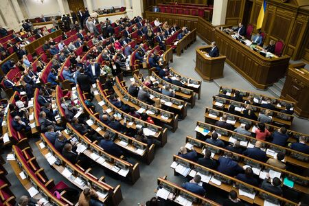 KYIV, UKRAINE - Oct. 29, 2019: President of Ukraine and Leader of European Solidarity party Petro Poroshenko during the session of the Verkhovna Rada of Ukraine of the ninth convocation Editorial