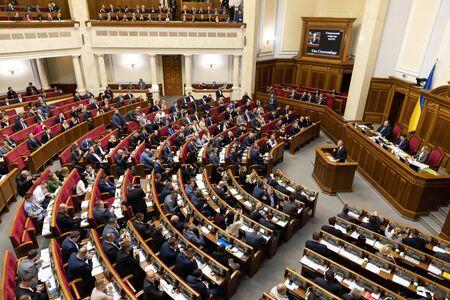 KIEV, UKRAINE - Oct 31, 2019: NATO Secretary General Jens Stoltenberg during a meeting with people's deputies of Ukraine in the parliament of Ukraine