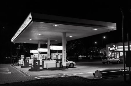 Lublin, Poland - Jul 27, 2018: Shell gas station at night Editorial
