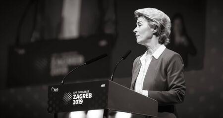 ZAGREB, CROATIA - Nov. 28, 2019: Ursula von der Leyen as the first female President of the European Commission during EPP Congress in Zagreb