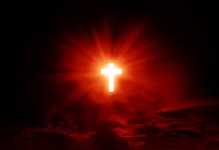 Sign of faith. Cross in the sky. Image in red dramatic colors