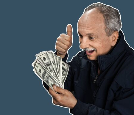 Senior gentleman holding a stack of money. Portrait of an excited old man. Happy old man holding dollar banknotes. Magazine style collage with copy space