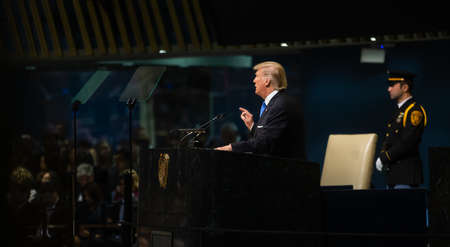 NEW YORK, USA - Sep 19, 2017: President of the United States Donald Trump speaks at the general political discussion during the 72th session of the UN Assembly in New York Editorial