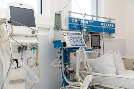 KYIV, UKRAINE - May. 27, 2020: Coronavirus epidemic. Poroshenko Foundation donated artificial lung ventilation devices, pulse oximeters and protective suits to Kyiv Alexander Hospital