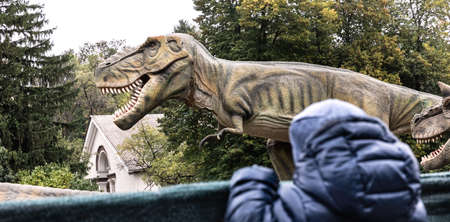 Two-year-old boy in a dinosaur park looks from behind the fence at a group of dinosaurs