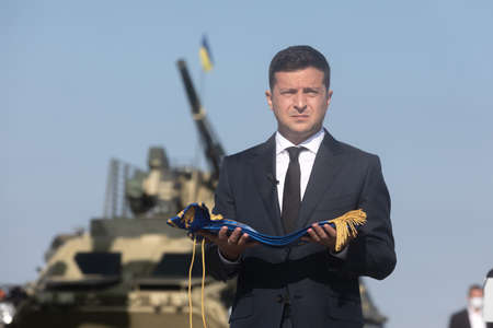 VASYLKIV, UKRAINE - Aug. 23, 2020: President of Ukraine Volodymyr Zelensky took part in the ceremony of raising the State Flag of Ukraine at the military airfield in Vasylkiv, Kyiv region