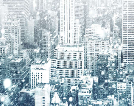 Winter in New York City. Falling snow in NYC. Winter Manhattan in the snowfall Stock Photo