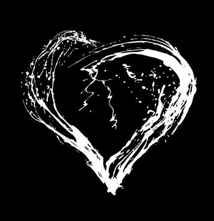 Abstract Valentine white heart on black background. Heart grunge brush stroke symbol. Hand drawn hearts.