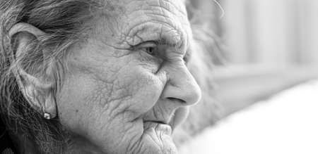 Old woman. Portrait of very old tired woman in depression. Black and white image