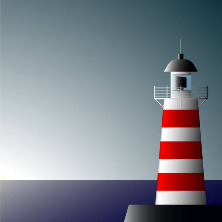 Lonely beacon on seacoast on a decline of day Vector