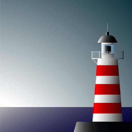 coast guard: Lonely faro en la costa de una disminuci�n del d�a Vectores