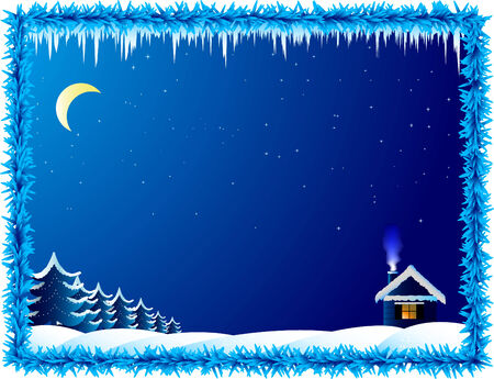 The lonely house in frosty night Vector