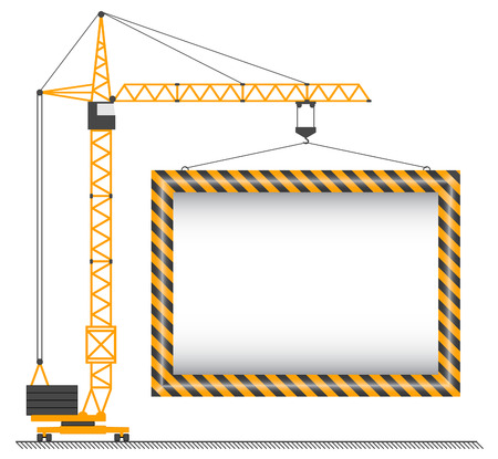 The vector crane lifting cargo on a white background