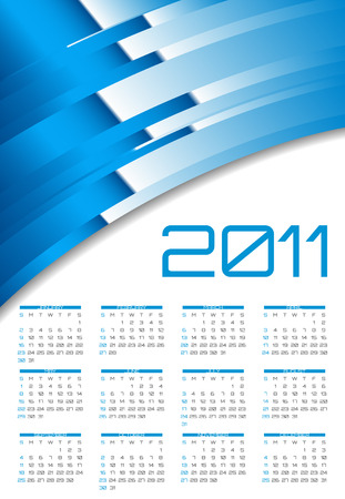 abstract calendar, design template for 2011 Stock Vector - 8107699
