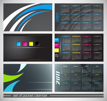 abstract pocket calendar, design template for 2011