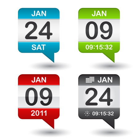 green dates: calendar icon on white background Illustration