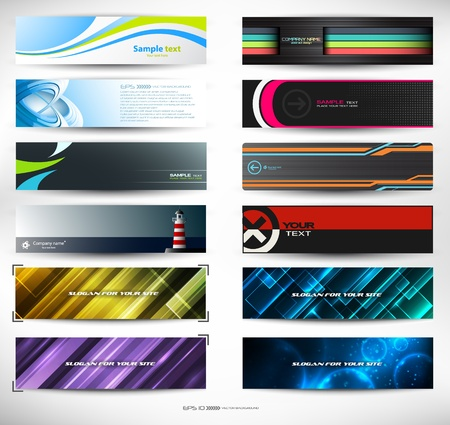 abstract banners for web header (mega set) Illustration