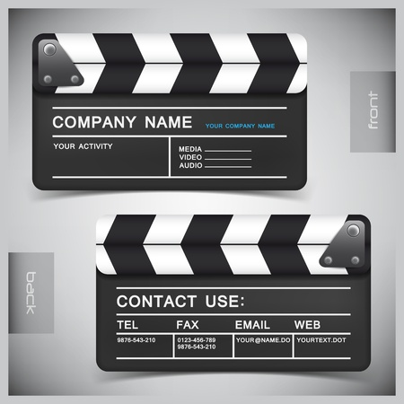 movie clapper: abstract creative business cards (set template) Illustration