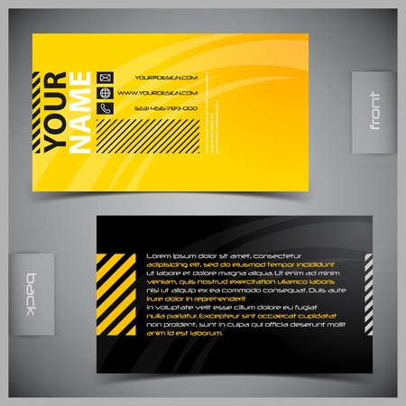 yellow background: Vector abstract creative business cards (set template) Illustration