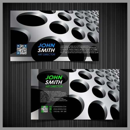 qr code: abstract creative business cards (set template) Illustration