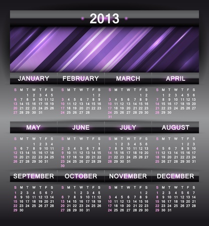 abstract calendar, design template for 2013 Stock Vector - 15417815
