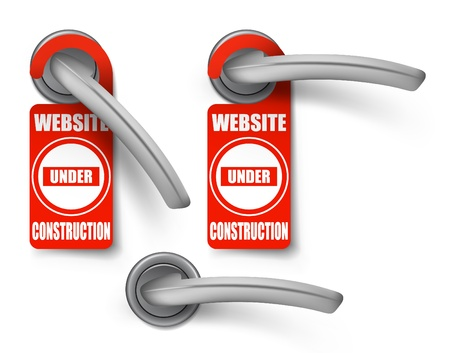 hotel handles with hanging signs, site under construction Vector