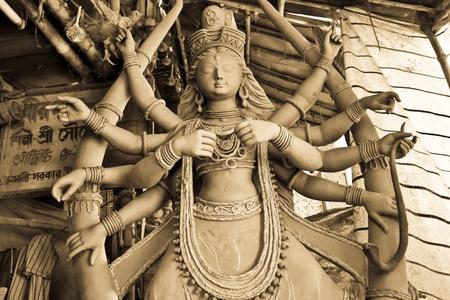 Kolkata, India October, 2011 - Picture of the famous Durga idol at kolkata (picture taken at kumartuli) during the festive season of west bengal, india.