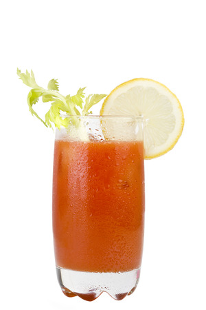 Juicy bloody mary on white