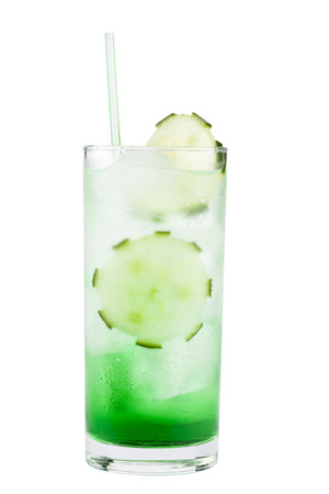 Delicious cocktail with cucumber and straw