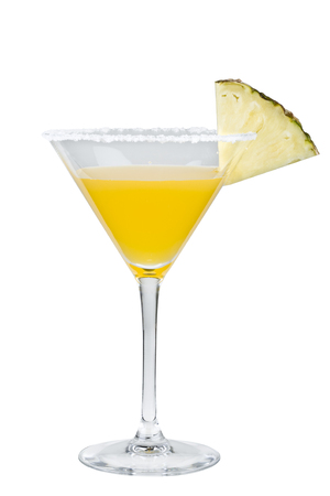 Flirtini cocktail with pineapple isolated on white background