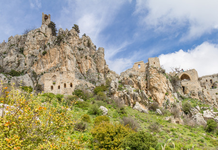 st hilarion: The Saint Hilarion Castle lies on the Kyrenia mountain range, in Cyprus near Kyrenia.  Stock Photo