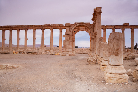 attested: Ruins of Palmyra city, Syrian desert. Dating back to the Neolithic era, the city of Palmyra, was a strategically located oasis first attested in the early second millennium BC as a caravan stop for travelers crossing the Syrian Desert.