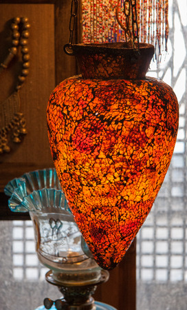 lampshades: Traditional arabic glass lampshades on display in traditional market in Damascus, Syria Stock Photo