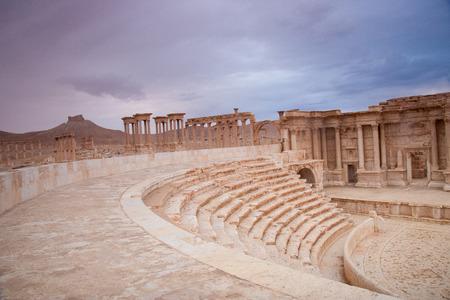 syrian: Amphitheatre at Palmyra city, Syrian desert.  Stock Photo