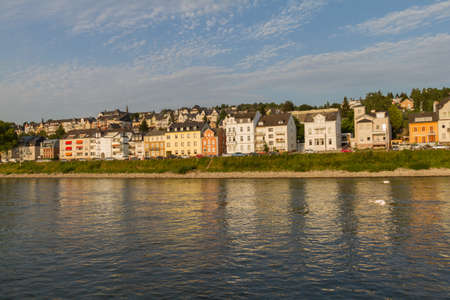 bathed: Residential district of Koblenz on the banks of Rhine river bathed in afternoon light Stock Photo