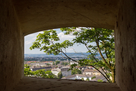 konstantin: City view via window on Konstantin Fortress, Koblenz, Germany Stock Photo