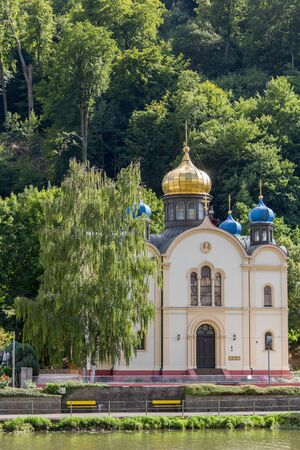 ems: Russian Orthodox Church in the spa town of Bad Ems on river Lahn in Germany Stock Photo