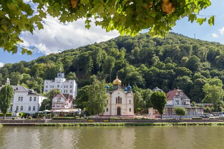 ems: Bad Ems, Germany - July 21, 2015: View of the spa town Bad Ems at the river Lahn in Germany with the Russion Orthodox Church and Schloss Balmoral in view