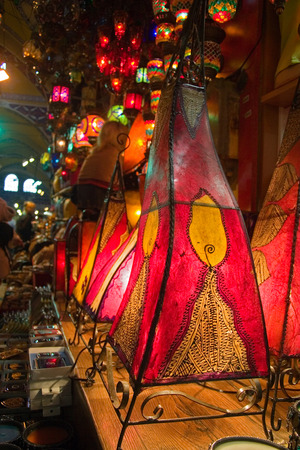 kapalicarsi: Traditional oriental skin lamps in Istanbul  Grand Bazar. Photogtaphed in Grand Bazar Kapalicarsi in Istanbul, Tureky in April 2005 in April 2005 Stock Photo