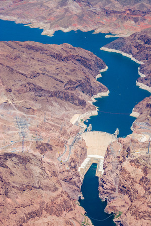 hoover dam: Aerial view of the Hoover Dam and the Grand Canyon, between Nevada and Arizona, USA.Phot taken in May 2006