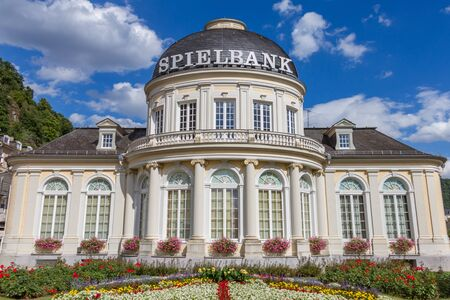 ems: Bad Ems, Germany - July 21, 2015: The outside photo of  Spielbank Casino building was taken from the direction of the gardens on the side of the building