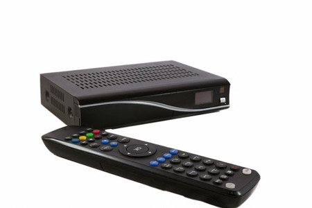 satellite tv: Remote and Receiver for Satellite TV STB on white front view Stock Photo