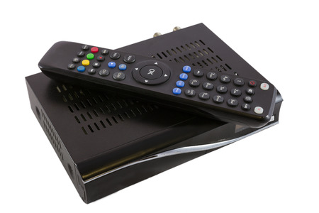 satellite tv: Remote and Receiver for Satellite TV STB on white top view