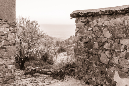 archtecture: Fikardou village scene with blooming almond trees. The villahe located in Cyprus is  heritage site, being a traditional mountain settlement preserving its 18th and 19th century physiognomy and archtecture. Photo has been sepia toned Stock Photo