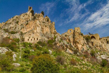 st hilarion: Saint Hilarion Castle on the Kyrenia mountain range, in Cyprus.