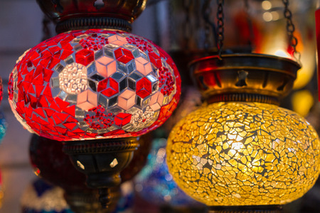 lampshades: Traditional stained glass oriental lampshades in a shop in Plaka district in Athens, Greece Stock Photo