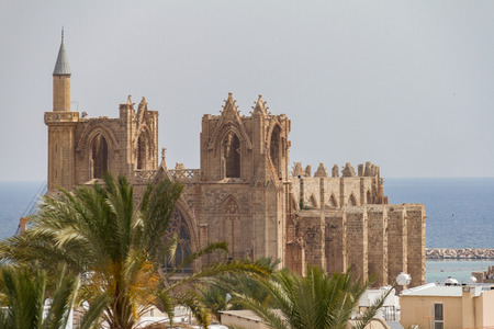 mustafa: Medieval Cathedral of St Nicholas (Lala Mustafa Pasha Mosque) in Famagusta, Cyprus Stock Photo