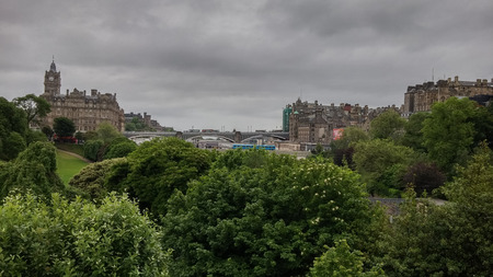 waverley: Edinburgh city view as seen from Waverly Train Station on a cloudy day